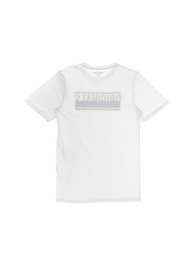 Jack & Jones Jack & Jones Baskılı Ekru T-Shirt Beyaz